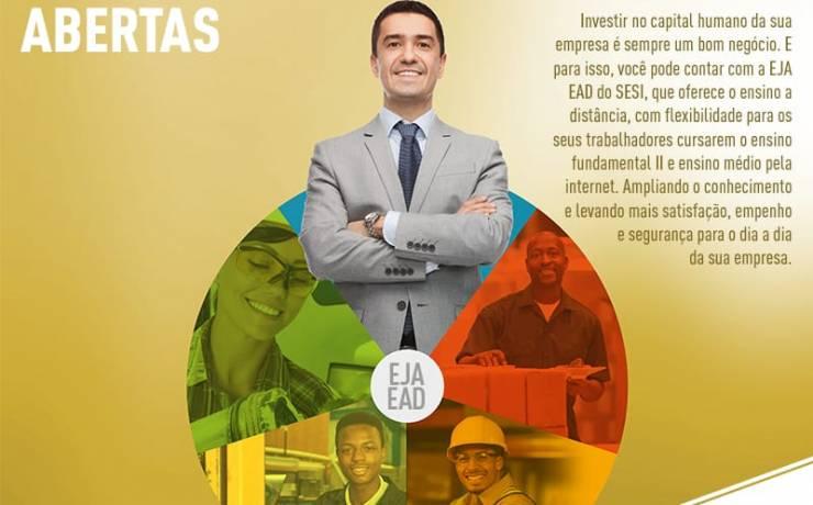 SESI oferece vagas gratuitas de ensino fundamental e médio